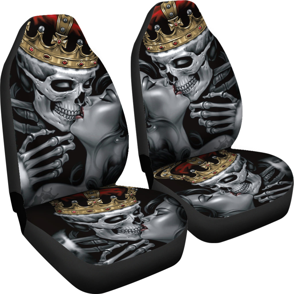 Set of 2 Skull king queen skull car seat covers