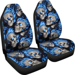 Set of 2 fire skulls car seat covers