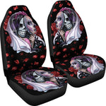 Set of 2 day of the dead sugar skull car seat covers