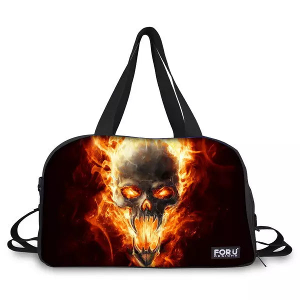 Fire Skull Punk Travel Bags, Luggage Waterproof