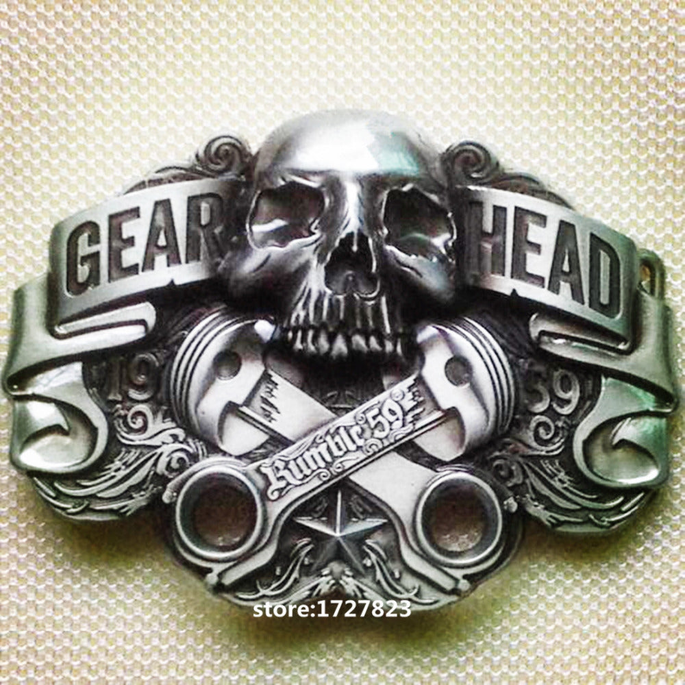 Skull Head gear belt buckle Fashion Mens Silver color Texas Western Turbo Nos suitable for 4cm belt
