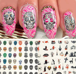 Set of 6 sheets Sugar Skull Nail Water Decals