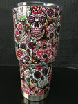 30 oz Sugar Skull Stainless Steel Tumbler - Design is Painted.