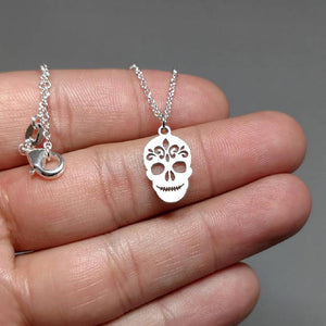 Sugar skull necklace silver necklace silver chain dainty jewelry personalized jewelry gift for 925 silver birthday gift charm