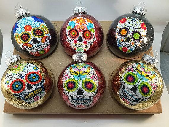 Set of 6 Sugar Skulls Glass Ornament Balls Set of 6Sugar Skulls Glass Ornament Balls