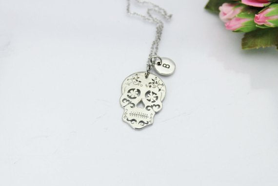 Sugar Skull Necklace, Silver Sugar Skull Charm, Gothic Gift, Halloween Gift