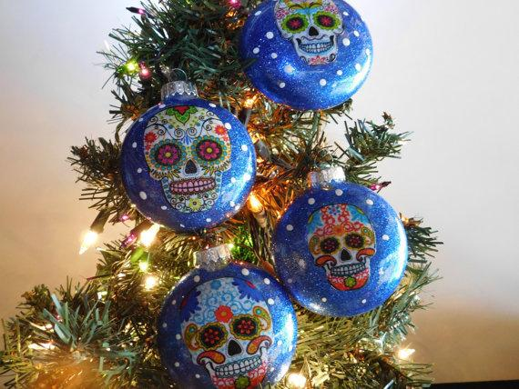 Set of 4 Sugar Skulls Glass Ornaments