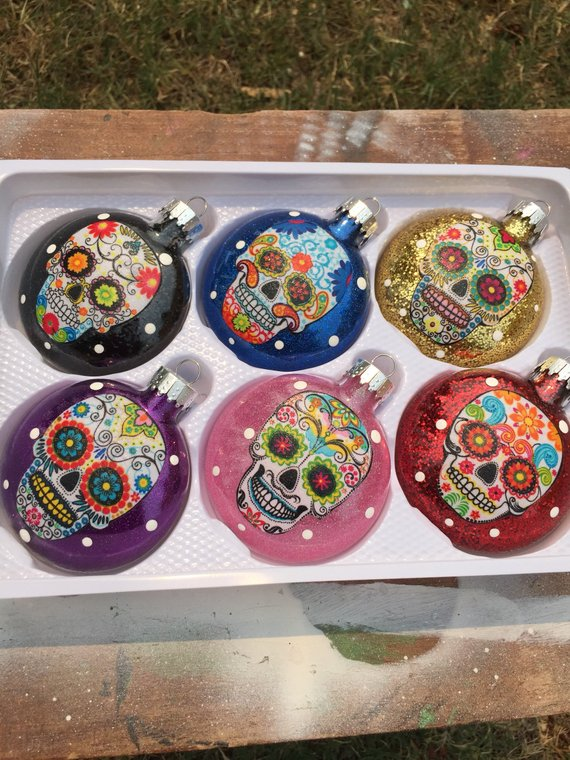 Set of 6 Sugar Skulls Glass Ornaments Multi Color Glitter