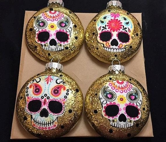 Sugar Skulls Glass Ornaments Set of 4