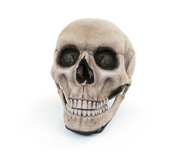 Inflatable Skull Chair, Movable Jaw Knitted Fabric Halloween Design