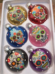 Sugar Skulls Glass Ornaments Multi Color Glitter Set of 6