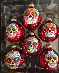 Set of 6 Day of the Dead Sugar Skulls Glass Ornaments