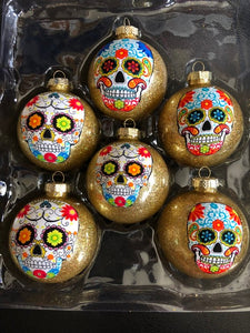 Day of the Dead Sugar Skulls Glass Ornaments Set of 6