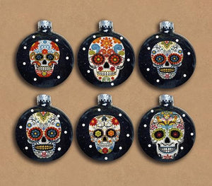 Sugar Skulls Glass Ornaments Set of 6