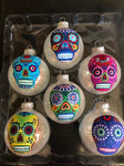 Colorful Sugar Skulls Glass Ornaments Set of 6