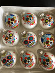 Day of the Dead Sugar Skulls Glass Ornaments Set of 9