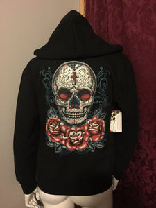 Sugar Skull with Roses Day of the Dead Zip Up Hoodie Sweatshirt Black S M L XL Plus Size 1x 2x 3x 4x 5x