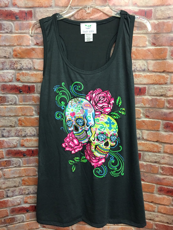 Sugar Skull Tanks-Womens Tanks-Tanks-Womens Clothing