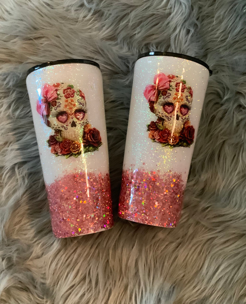 Sugar Skull Glitter Tumbler (1100ml)  & Gift 2 Straws + clearing brush + bag