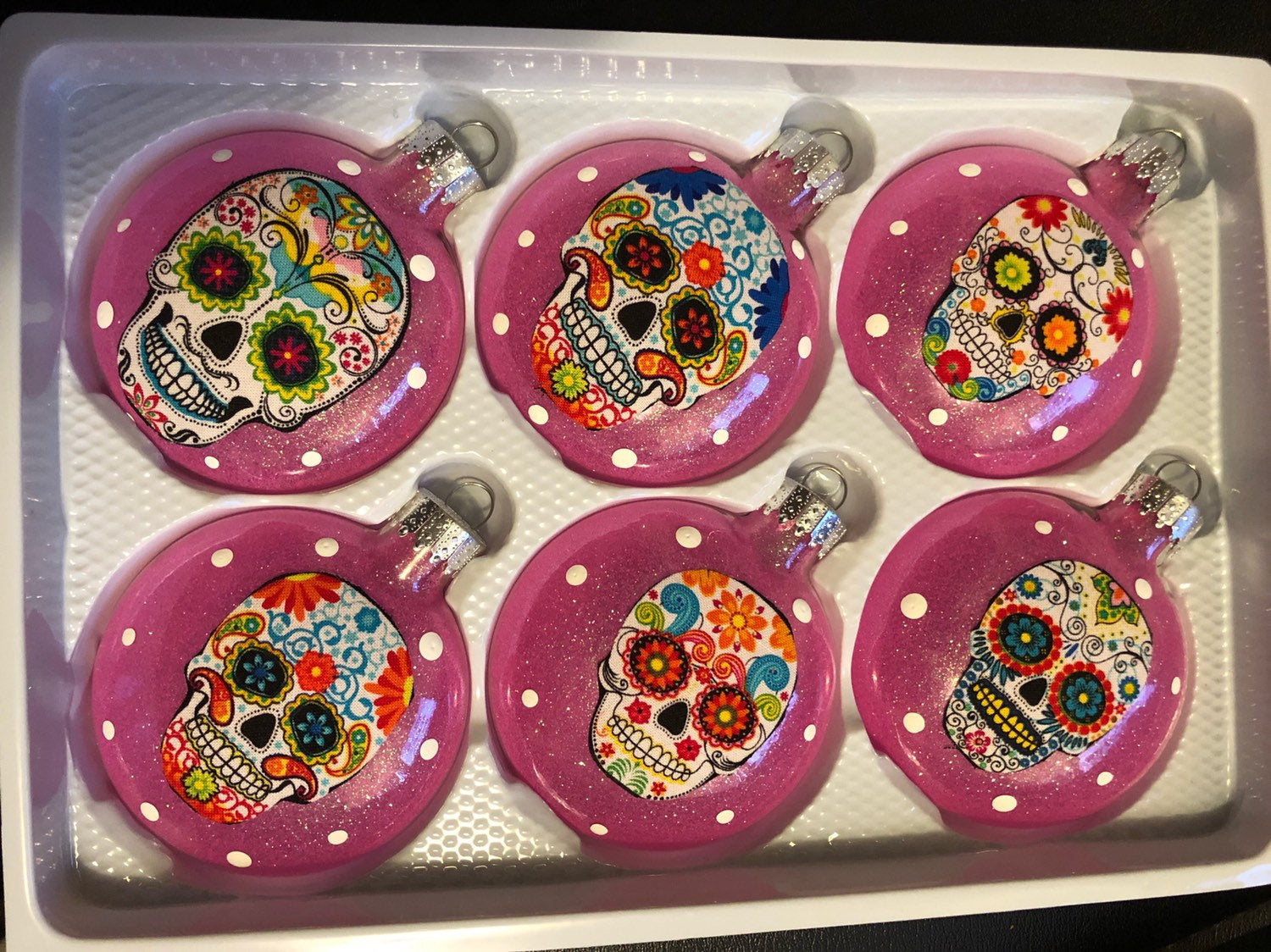 Sugar Skulls Glass Ornaments Set of 6 Hot Pink