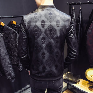 Men jacket skull autumn jacket men's Jacquard Dress Coat