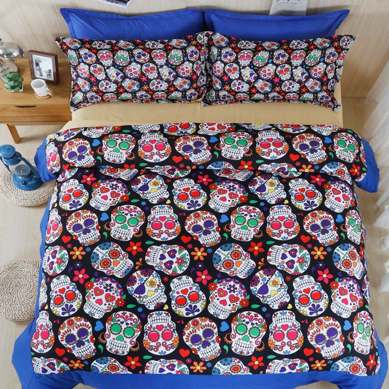 3D Skull Bedding Set Single Queen King Size Bed Sheet Bedlinen Cool Unique Skeleton