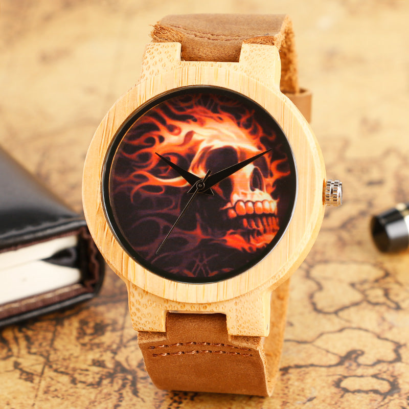 Cool Fire Skull Dial Design Wood Watches with Brown Leather Watchband