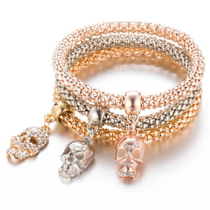 New Fashion Gold Color Crystal Skull Bracelet & Bangle 3 PCS/Set Charm Luxury Love Anchors Heart