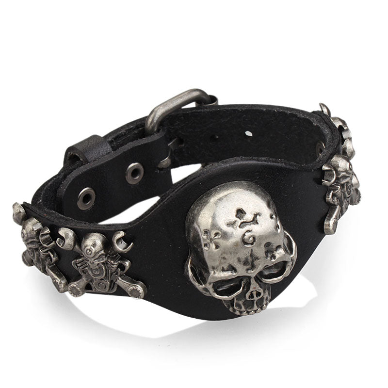New Design Jewelry Multicolor Punk Rock Evil Skull Genuine Leather Wrap Bracelet