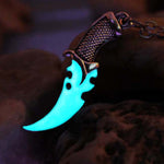 Luminous Necklace dagger Stallone stiletto Necklace Punk dagger Necklace GLOW in the DARK