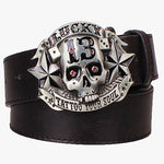 Cool men's belt skull pirate lucky 13 tattoo your soul hip hop style punk belt