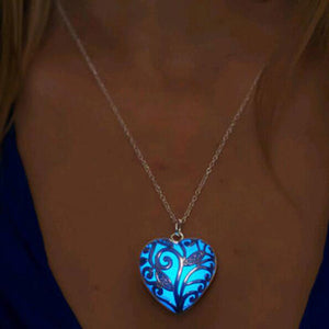 Glow In The Dark Locket Silver Hollow Glowing Stone Pendant Statement Chocker
