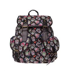 MEXICAN FLOWER SKULL Print leather backpack vintage backpack women
