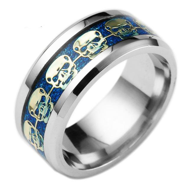Fashion Mens Jewelry Never Fade Stainless Steel Skull Ring Gold Filled Blue Black Skeleton Pattern