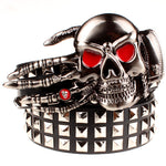 Full big rivet belt skull ghost hand god's metal buckle belts devil eyes bone ghost claw belt