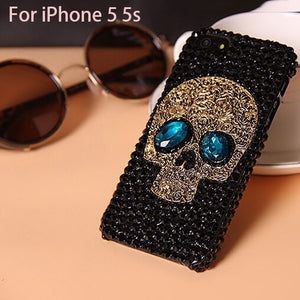 Handmade Diamond Metal saphire eye Skull back Cover phone case