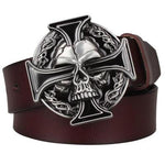 Genuine Leather belt metal buckle flame Skull belt bad bone belt