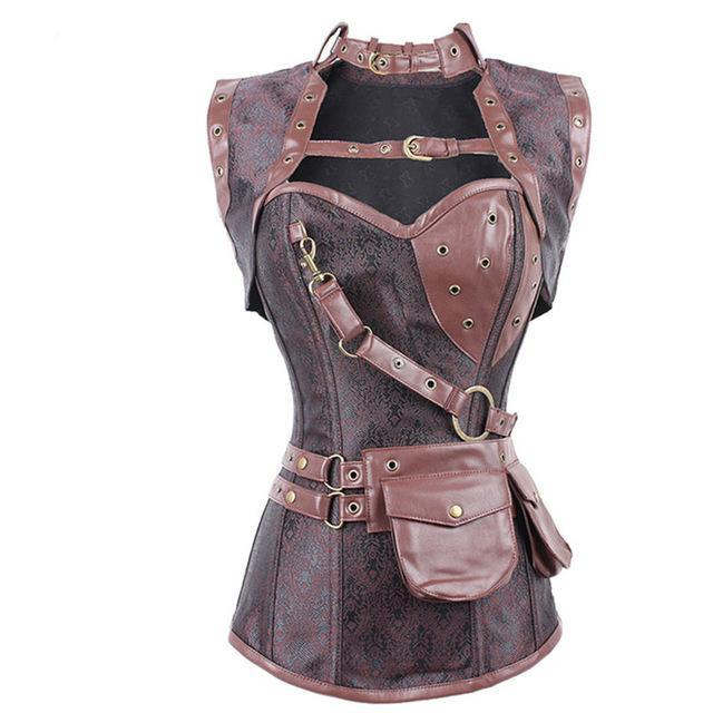 New Sexy Red Black Skull Pattern Steampunk Corset Punk Faux Leather