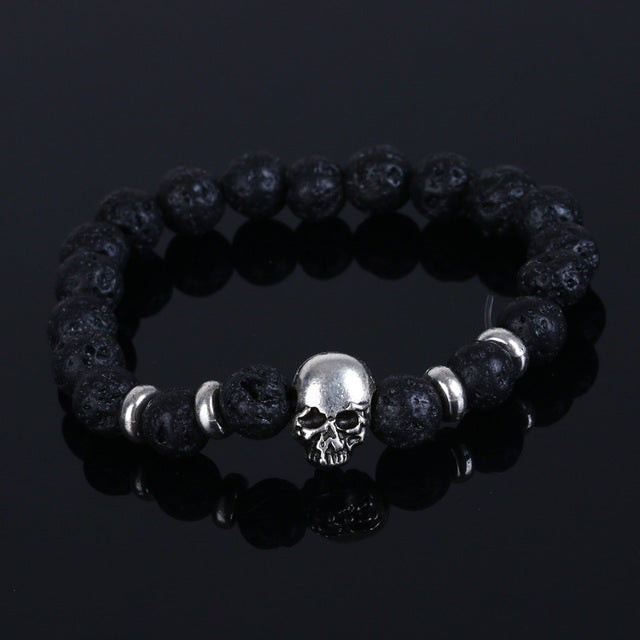 Beaded Black Natural Stone beads Skull Elastic Bracelets for Men and Women Tiger Eye Bracelets