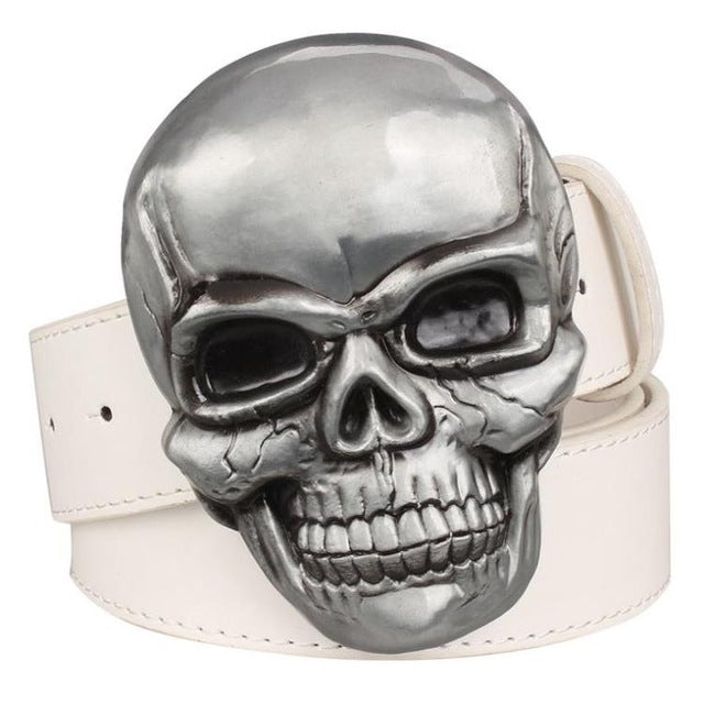 Goths wild style fashion men's belt big skull head metal buckle Smile skeleton
