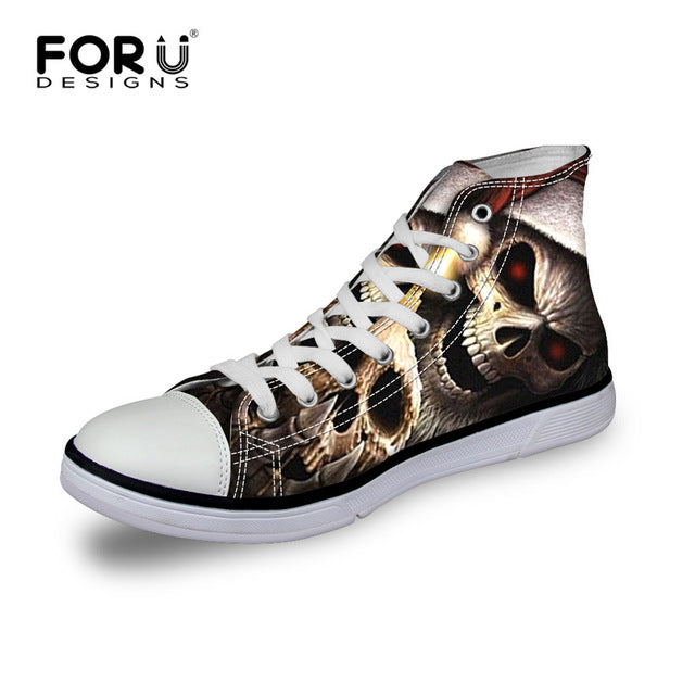 Classic Men's Punk Rock Skull Style High-top Vulcanize Shoes Casual Lace-up Canvas Shoes
