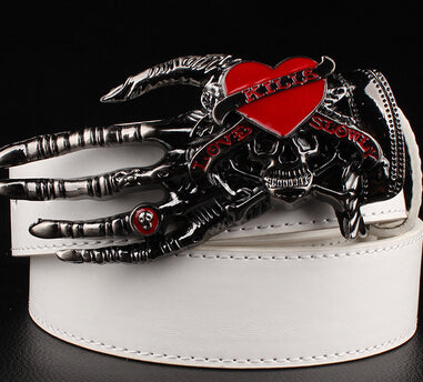 Men Punk Belt metal rock Belt Skull devil Ghost claw Belt buckle