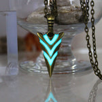 Glowing Green Arrow necklace Knight spear Necklace GLOW in the DARK