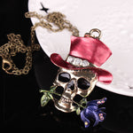 Long Chain New Gothic Antique Necklace Everyday Jewelry Gift Skull Rose Flower