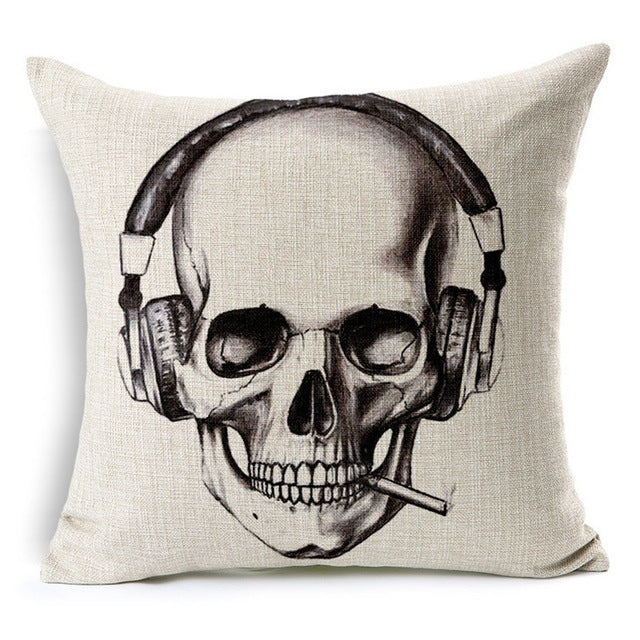 Skull Cotton Linen Square Pillow Cases Sofa Car Throw pillow Cushion Cover Textile products Cotton