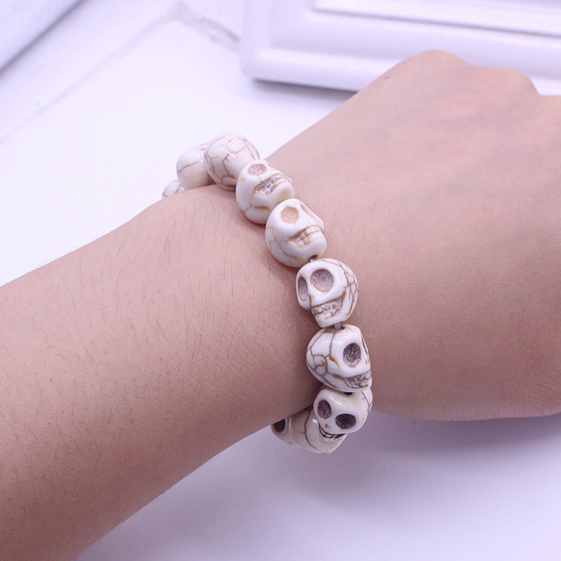 Fashion Skull Jewelry Wholesale Punk Personality Color Skull Stretch Bracelets Skull