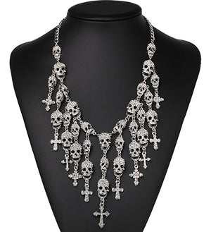 Vintage Skull Heads necklace crystal skeleton necklace fashion necklaces & pendants skull