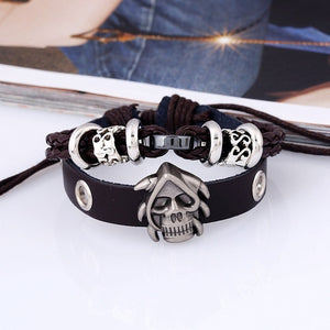 Original Design Steampunk Men's Bracelet Wristband Cuff Skeleton Studded Skull Bangle Leather