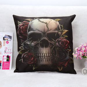 Sofa Pillow Case Cushion Cover Gothic Punk Skull Rose Throw Pillow Cover Sofa Cushion Cover