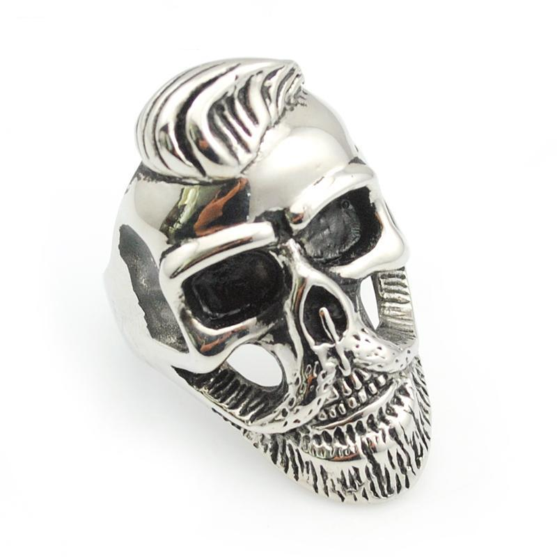 Gentleman beard skull ring,punk/rock/cool/fashion/hiphop stainless steel jewelry rings